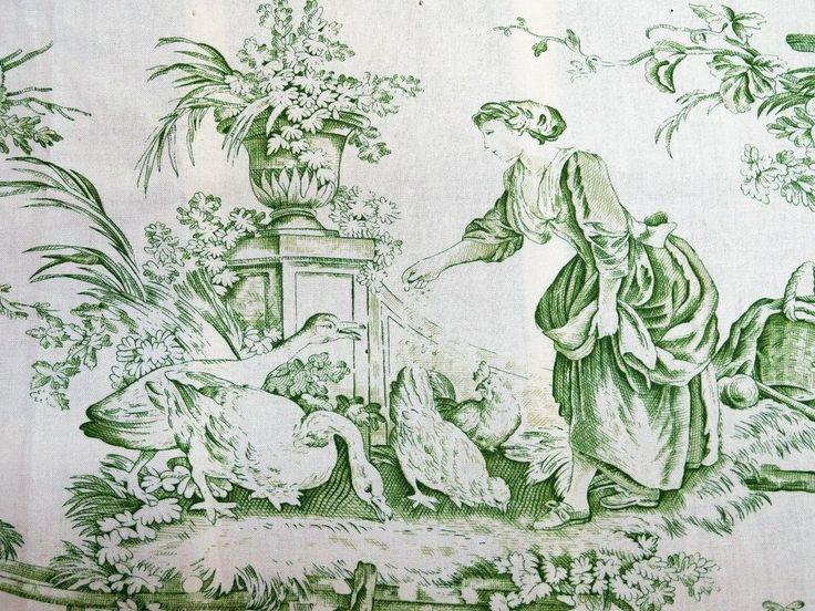 Brunschwig U0026 Fils Designer Home Decor Fabric / 2.5 Yds Green Toile French  Print | EBay