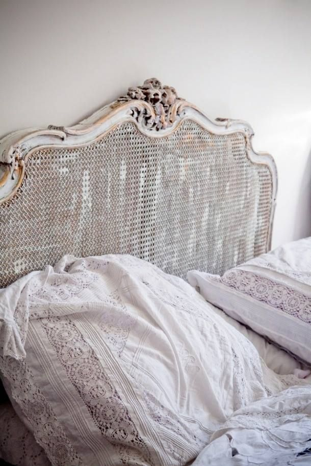 antique french bed, beautiful vintage linens
