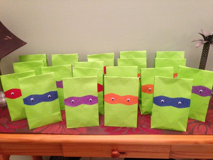 Teenage Mutant Ninja Turtle party favors for my daughter's 5th birthday!