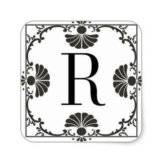 モノグラムのな白黒ステッカーの手紙R 正方形シール・ステッカー