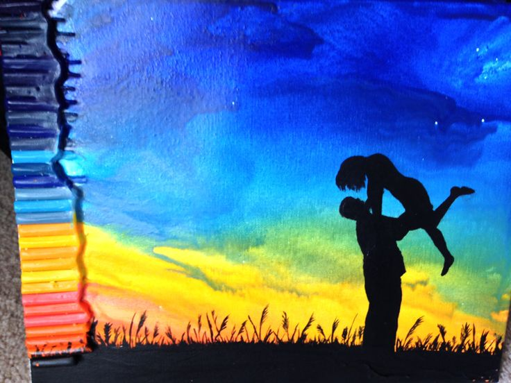 Couple in the Texas Sunset Crayon Art by iARTSthereforeiam on Etsy, $40.00