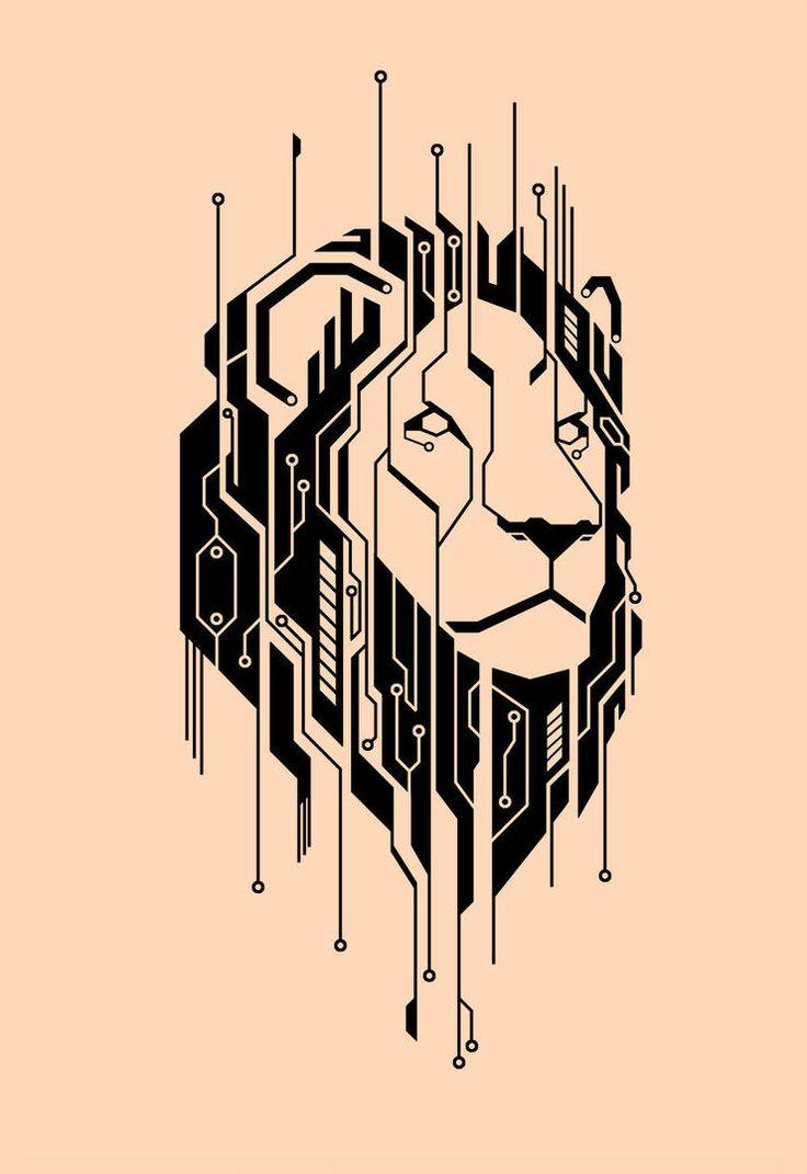 Circuitry Lion Tattoo by Thagomizer89