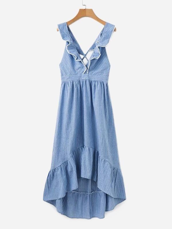 20f2ed11a0 Contrast Lace Ruffle Trim Striped Dress