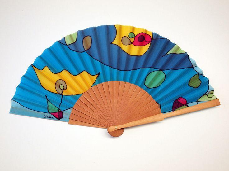 Handpainted Silk hand fan-Wedding hand fan- Silk hand fan-Bridesmaids- Spanish hand fan - Blue Hand fan by gilbea on Etsy