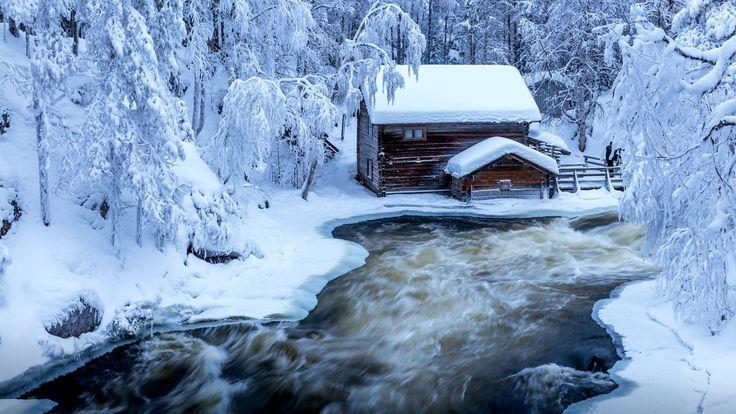 Zima, Dom, Rzeczka, Ośnieżone, Drzewa