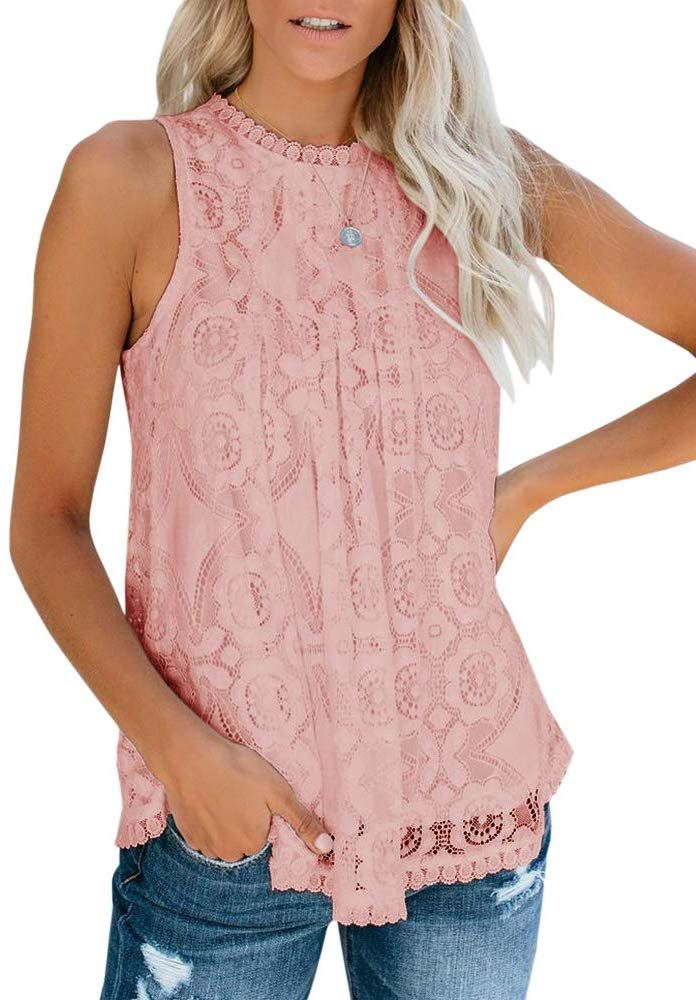 Womens Tops Ladies Sleeveless Shirt Floral lace Adjustable Clubwear Party Solid
