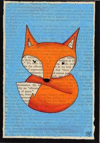 not cross stitch but still cute craft idea! Fox + Book page art = perfect match! [Craftster: jo_mama]