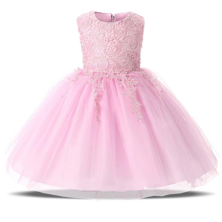 Милые Детки Девушки Первый День Рождения Dress Розовый Белый пышные Юбки Шнурка Свадебное Платье Dress Для Девочки Крещение одежда купить на AliExpress