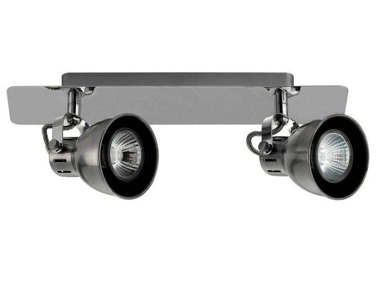 en métalDimensions : hauteur 9 cm, longueur 32 cm, profondeur 7 cm, Fonctionne avec deux ampoules 35 watts GU10 fournies
