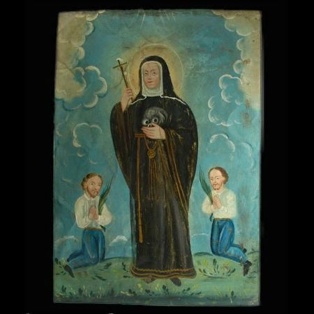 Mexican Antique Retablo of Santa Rita de Cascia. At her canonization ceremony in the year 1900, Santa Rita de Cascia was bestowed the title of Patroness of Impossible Causes. In Mexico, Santa Rita is widely venerated as the Patroness Saint of mothers, abused wives and heartbroken women.