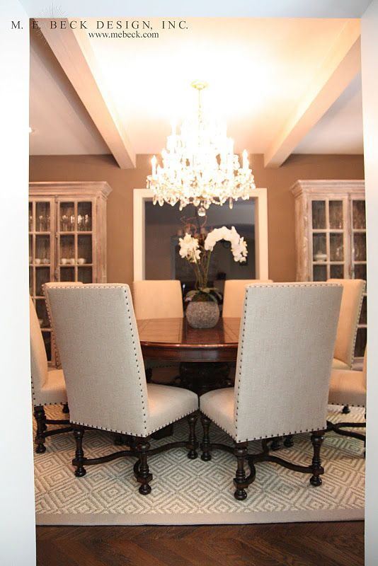 Dining Room Round Table With Chairs 2 China Cabinets Along The Wall