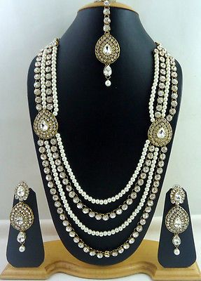 White Crystal Pearl Gold Tone 4 Line Rani Haar Long Necklace Jewelry Set 4 Pcs