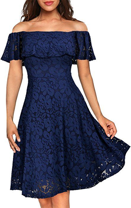 158c1a7c3633 Amazon.com: MissMay Women's Vintage Floral Lace Long Sleeve Boat Neck  Cocktail Formal Swing Dress Black Small: Clothing