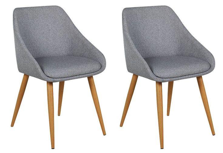 Argos Home Skandi Pair of Fabric Dining Chairs Grey