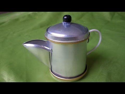 Como Fazer Bule de café de latinhas passo a passo, alça Fio de luz 2,5 mm - YouTube