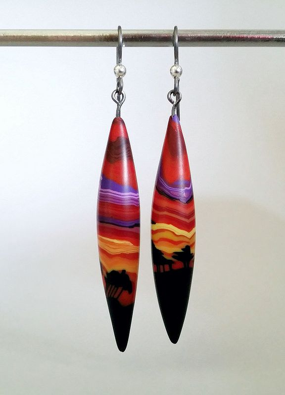 Sunset Silhouette   polymer clay earrings made from her Sunset Tree cane by Wendy Jorre de St Jorre