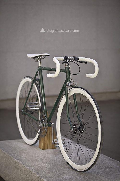 A gorgeous dark green fixie bike  #bicycles #cycling