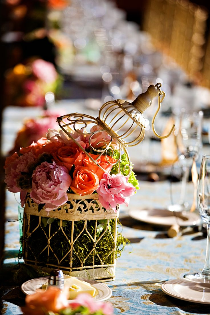 bridal shower centerpieces diy%0A small birdcage centerpiece with pink peonies