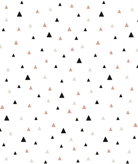 Papier peint géométrique trianlges noir et corail - PAPIERS PEINTS