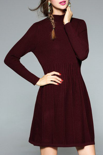 Sweetsmile Wine Red A Line Ribbed Knit Dress | Sweater Dresses at DEZZAL