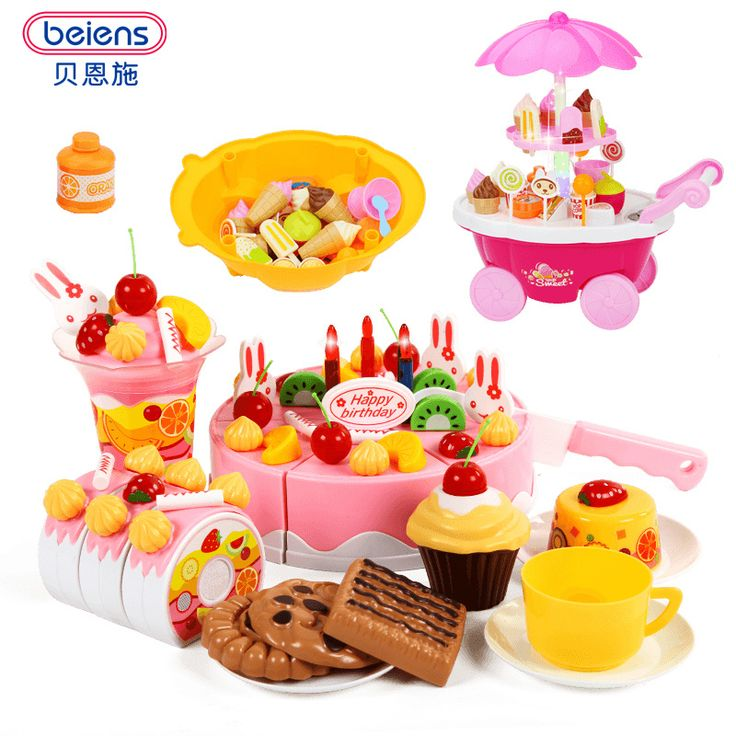 $19.2 - Awesome Beiens Brand Toys DIY Toys 38-75Pcs Pretend Play Cutting Birthday Cake Food Toy Kitchen For Children Plastic Play Food Tea Set - Buy it Now!