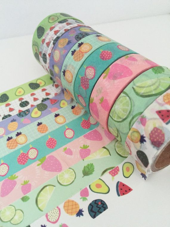 Fruit Washi Tape Set -  8 Roll Set, Pineapple Washi Tape, Watermelon Washi Tape, Strawberry Avocado Cucumber Fruity, Washi Tape Selection UK