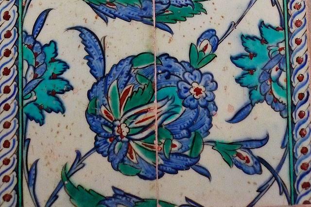 Iznik tile decoration, Mausoleum of Mehmet III October November 2009 Istanbul Turkey Sultanahmet Mausoleum of Mehmed III Mehmet Iznik tile decoration blue