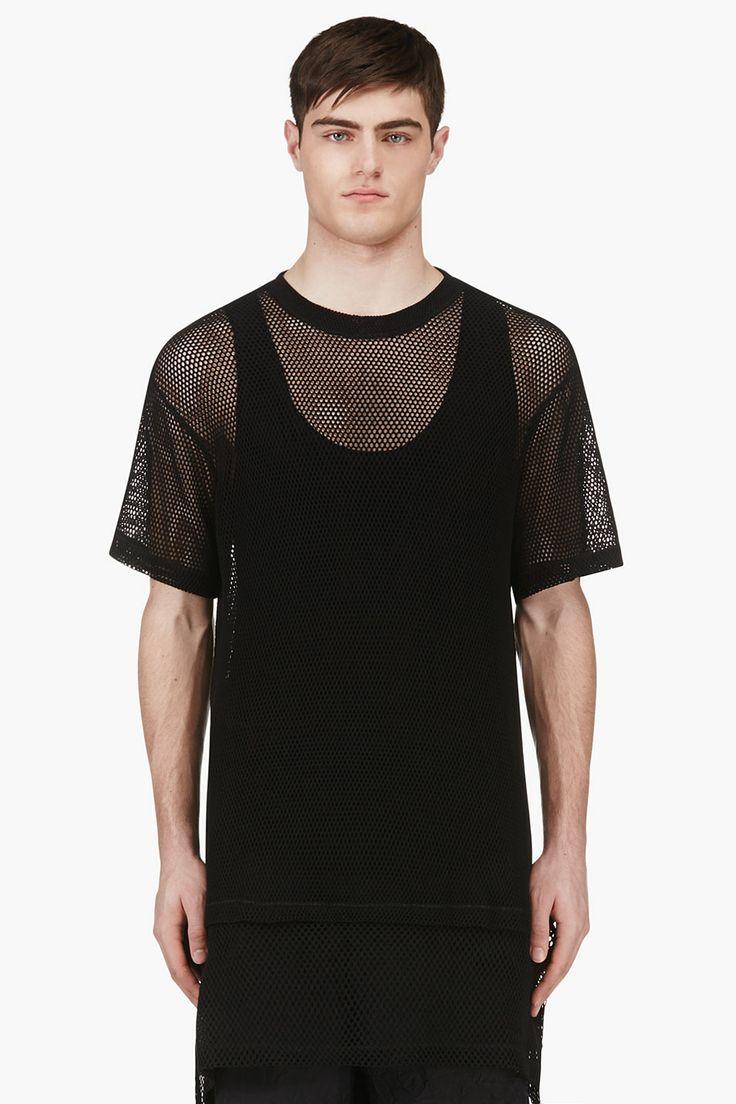 Ktz Black Oversized Mesh T-shirt for men | SSENSE