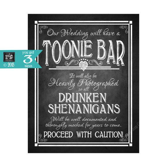 Toonie Bar Printable Wedding Sign DIY Digital by PSPrintables