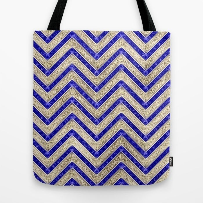 Gold And Blue Geometric Pattern Tote Bag by Peter Reiss | Society6
