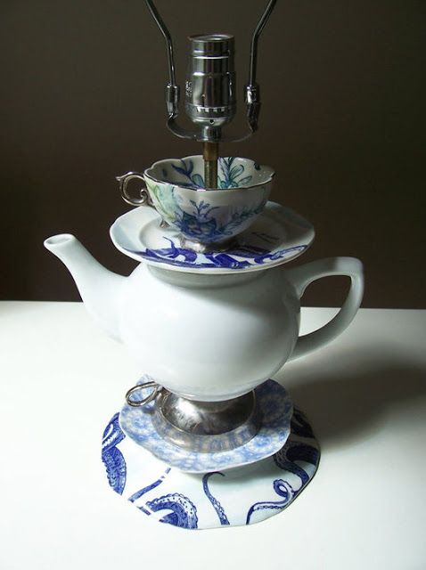 DIY: Homemade Teacup Lamp - using thrifted cups, saucers, plates, etc., this post shows how to drill through glassware to make your own lamp.