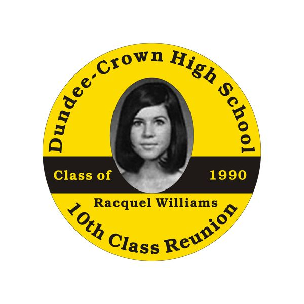 Reunion Basics - Cheap Round Alumni Reunion Photo Name Tag Sticker - Template 1