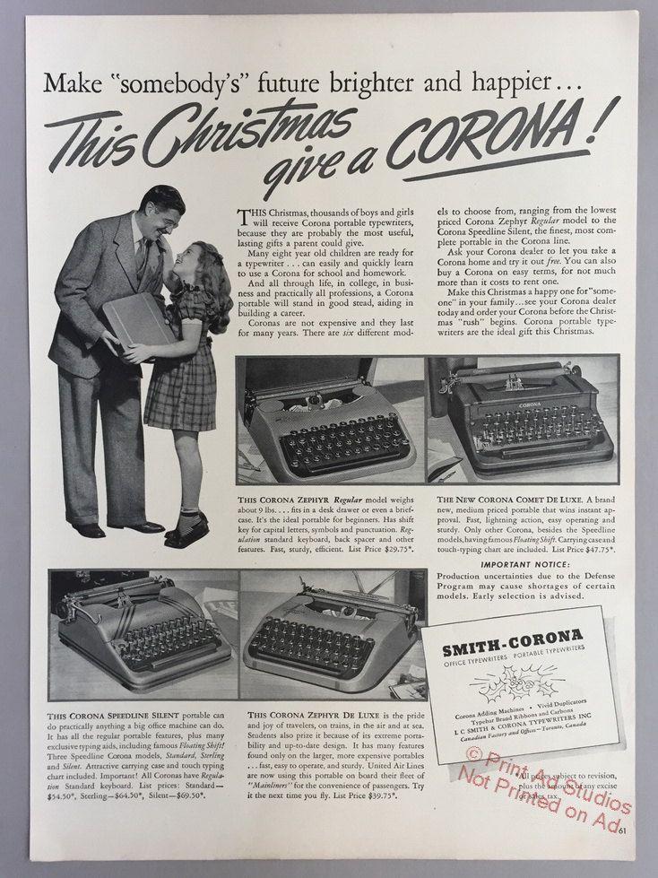 1941 Smith-Corona Typewriter Print Ad Christmas Ad