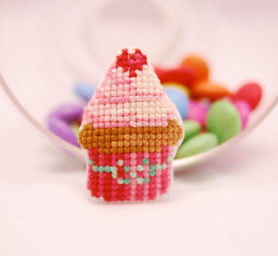 Party favor Cupcake cross stitch Brooch. by MeandMamaCreations