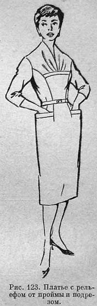 Платье с релъефом от проймы и подрезом  (Рис. 123)