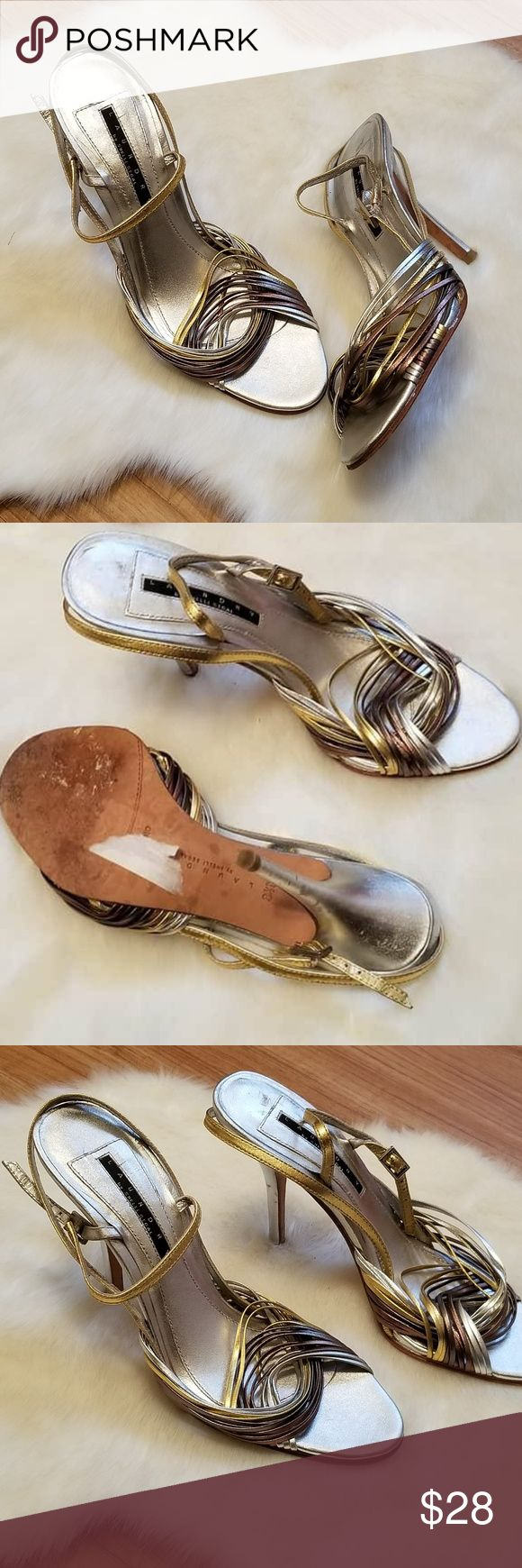"""Laundry Shelli Segal Metallic Leather Sandals Laundry Shelli Segal Gold Silver Metallic Leather Strappy Sandals Heels 8 1/2   Gold Silver & Rose Gold Metallic Straps  Leather sole & Upper, adjustable ankle strap, 3 1/2"""" heel Laundry Shelli Segal Shoes Sandals"""