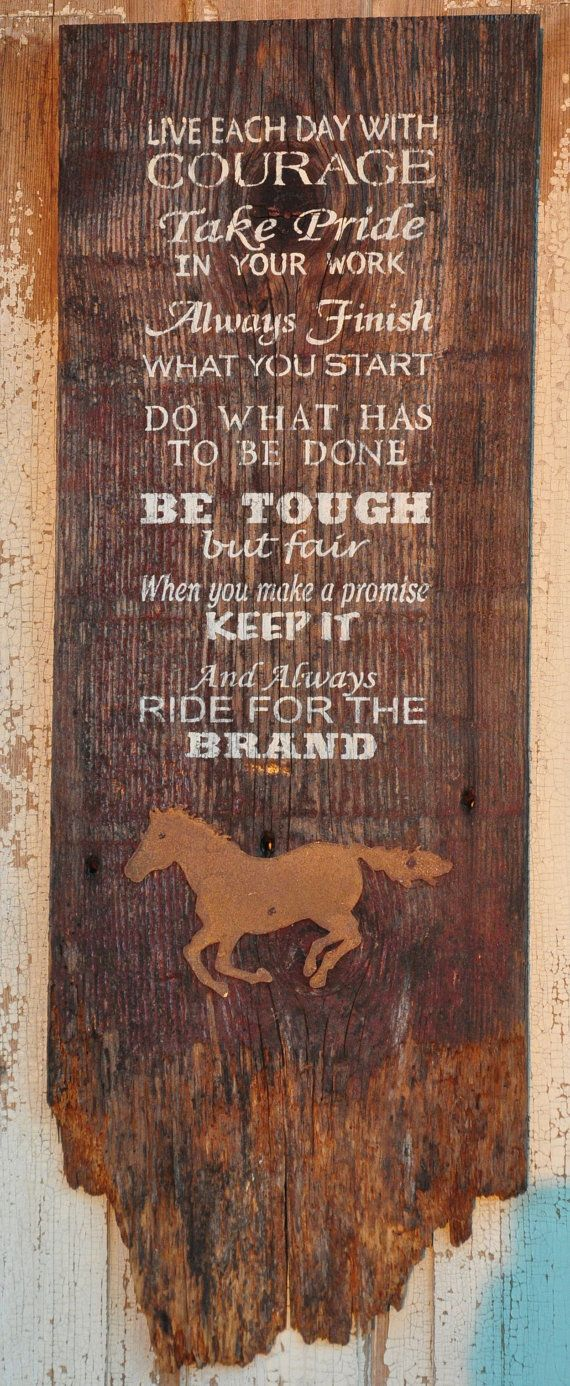 Rustic Western Hand Painted Old Barnwood Ride by theprimitivebarn1, $49.99