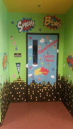 I made this Superheroe door decor for the classroom door where I work!