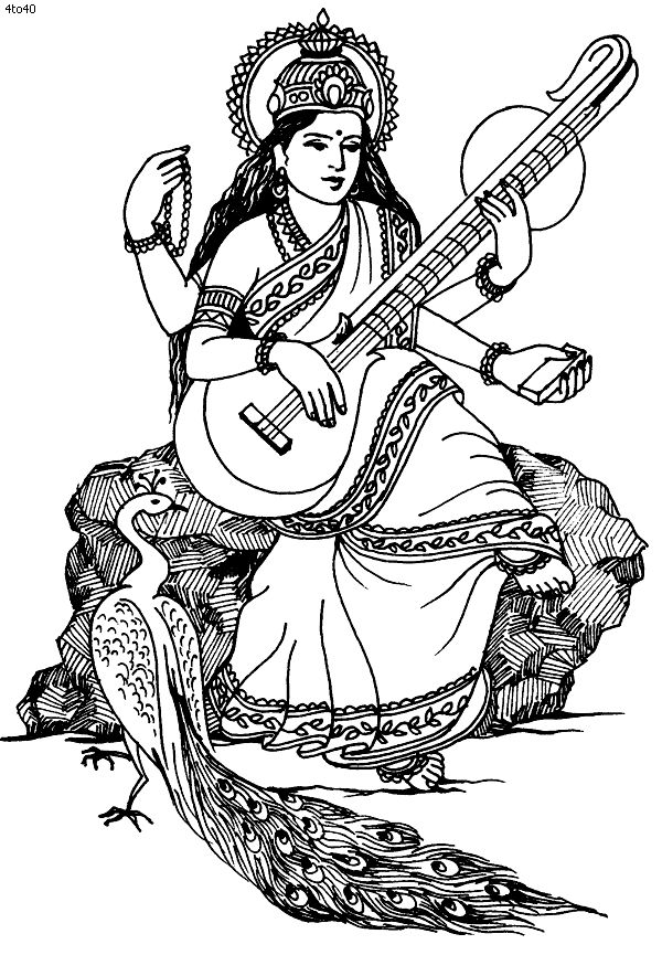 free coloring page coloring india saraswati saraswati image to print and color hindu deity of wisdom and the arts