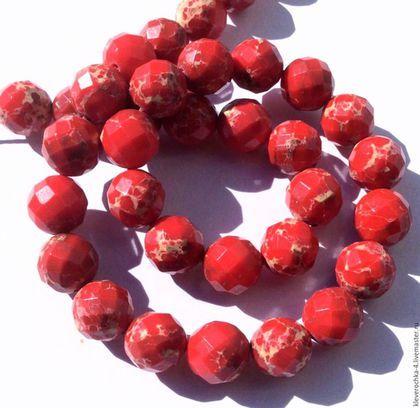 Для украшений ручной работы. Ярмарка Мастеров - ручная работа. Купить Варисцит 10 мм красный шар огранка бусины камни для украшений. Handmade.