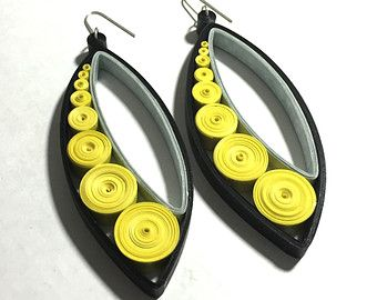 Statement Earrings Made from Paper in Black, Yellow & Grey. Hand Quilled (Rolled) and Extremely Lightweight.