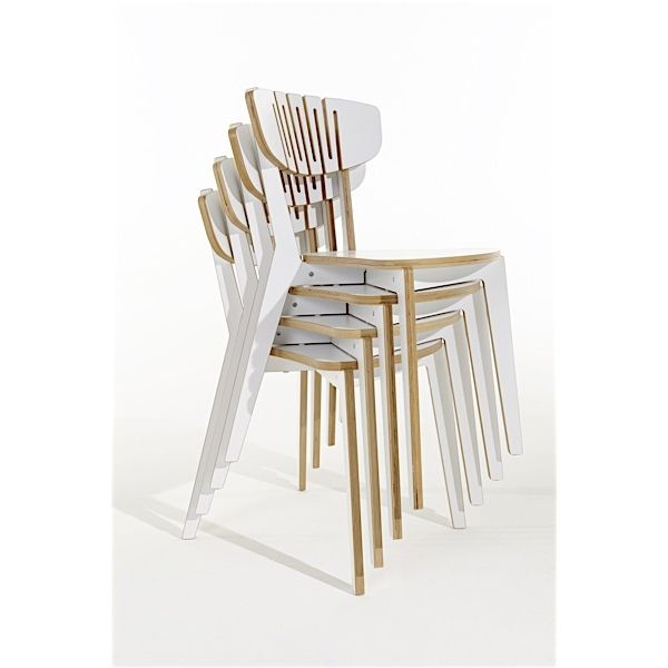 LUNO, stackable chair, light and solid, multiplex wood.