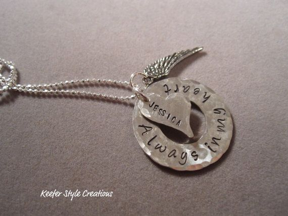 Hand stamped washer Always in my heart by KeeferStyleCreations, $52.00