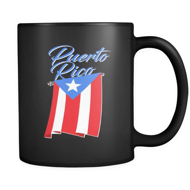 Big Puerto Rican Flag on Puerto Rican Black ceramic 11oz mug