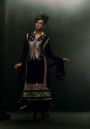 Black Color Bold & Amazing Embroidered Straight Suit