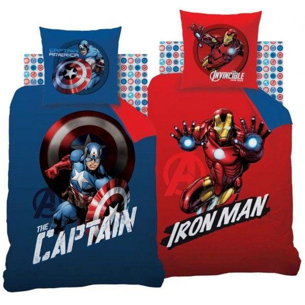 Marvel Avengers sengetøj med Captain America og Ironman