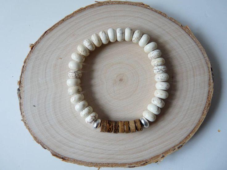 White Howlite bracelet, Gemstone and wood bracelet, Howlite power bracelets, Beaded unisex men's jewelry, Wooden jewelry, Women bracelet by nkcraftstudio on Etsy