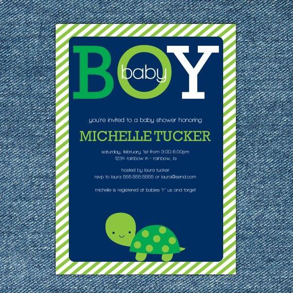 Turtle Baby Shower Printable Invitation. $10.00, via Etsy. This little guy's kinda cute too.