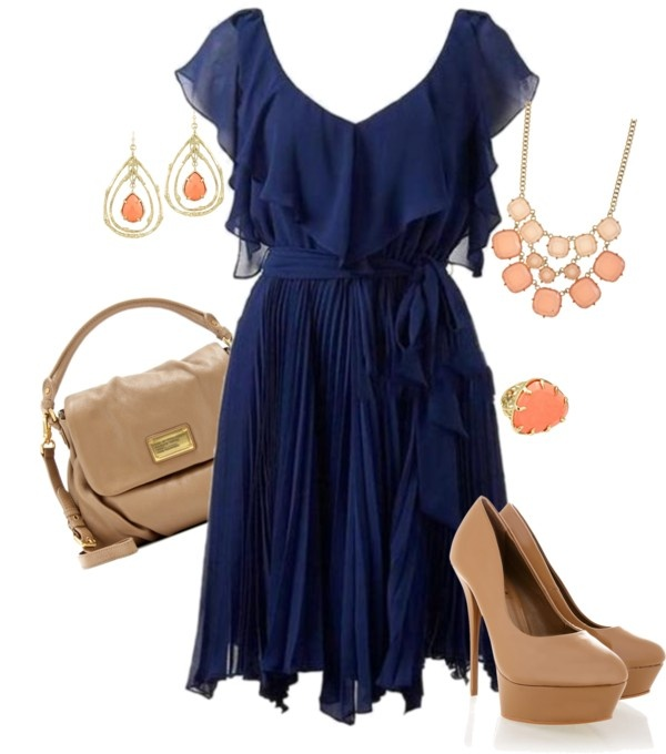 What Accessories Go With Navy Sparkly Dress Nude Shoes