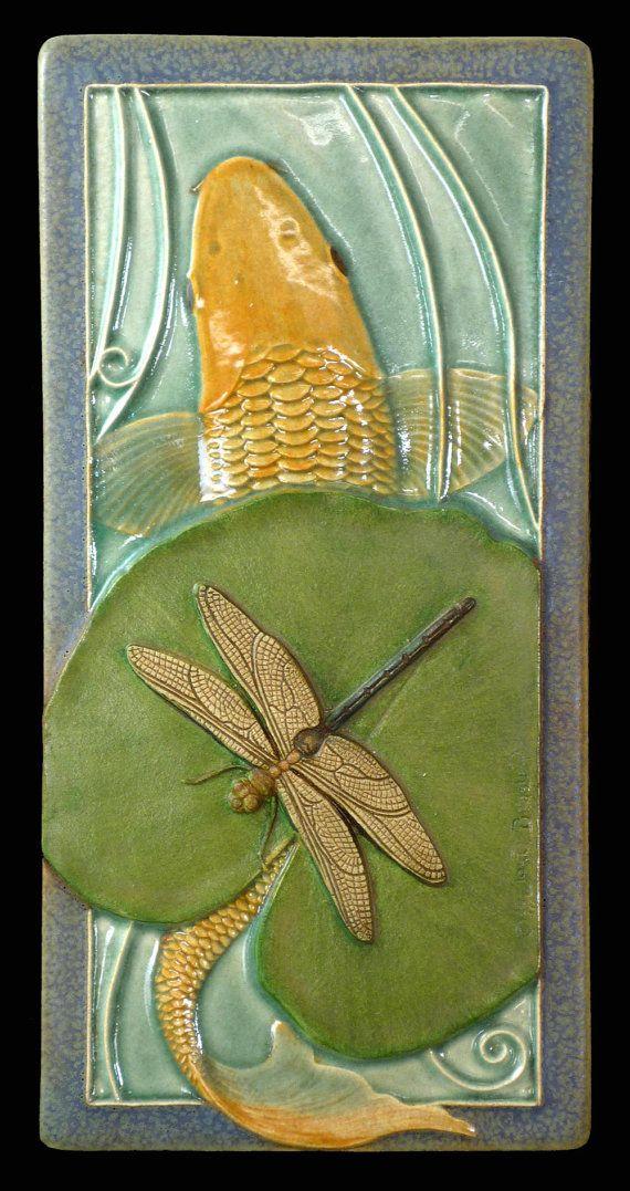 sculpture ceramic tile animal art Koi and by MedicineBluffStudio